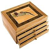 MarqART Hummingbird Wood Jewelry Box & Gift - Handmade USA - Unmatched Quality - Unique, No Two are The Same - Original Work of Wood Art (#7017 Hummingbird 3 Drawer)