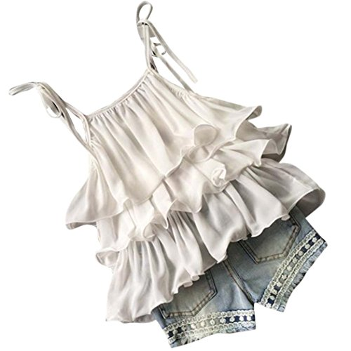 Moonker Cute Sweet Toddler Baby Girls Chiffon Pearl Vest Shirt and Jean Shorts Outfits Clothes Set 2-7Y (6-7 Years Old, White)