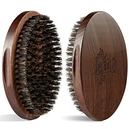 BFWood Cepillo Grande para la Barba de Cerdas de Jabalí para Hombres - Mango de Madera Natural de Nogal Negro
