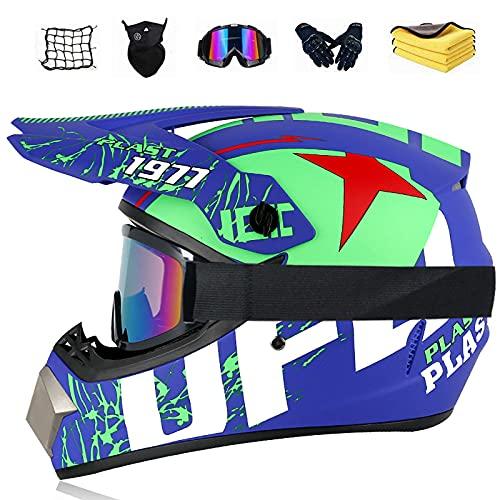Motocross helmet Motocross helmet set with helmet (Windproof glasses, gloves, windproof mask, helmet net, rag). Suitable for adults, teenagers and children,B,XL