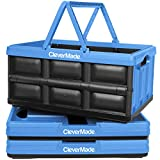 CleverMade Collapsible Plastic Storage Bins with Handles - Multi-Use Stackable Folding Crates for Home and Garage Organization - 32L CleverCrates - Pack of 3, Blue