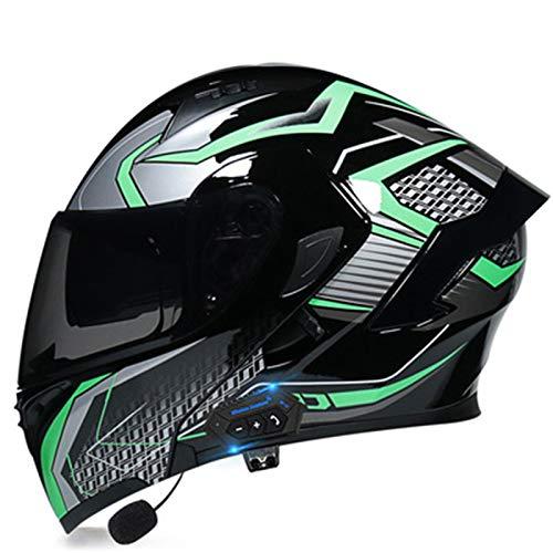 Casco Flip Up Motocicleta,Casco de Moto con Bluetooth,ECE Certificación Modular Moto Casco Con Lente de Doble Parasol,Adultos Scooter Helmets con Función de Respuesta Automática M,M=55~56CM