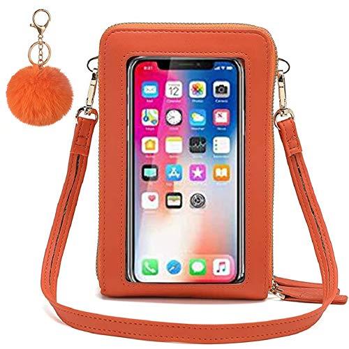 JELLYEA - Bolso bandolera con pantalla táctil para mujer, piel sintética, multifunción, transparente, con ranuras para tarjetas de bloqueo RFID, compatible con teléfono de menos de 6,5 pulgadas