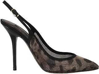 Dolce & Gabbana Brown Leopard Stretch Slingbacks Shoes