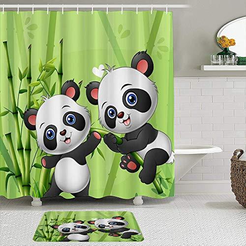 MJIAX Juegos de Cortinas de Ducha con alfombras Antideslizantes,Panda de Animales Jugando en el Bosque de Bam, Ganchos para Cortinas de baño repelentes al Agua y Alfombra de baño incluidos