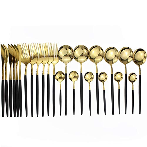 Sistemas de vajilla de oro rosado Conjunto de cubiertos de acero inoxidable Sistema de cubiertos de cubiertos azul cuchillo tenedor cuchara vajilla conjunto (Color : Black Gold)