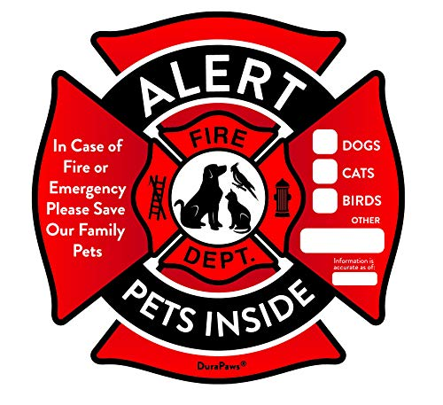 Pet Alert Stickers – Save My Pets in Case of Emergency Stickers – Inside The Window Static Cling Window Decals 4 Pack – UV Resistant Removable, NO Adhesive - Bonus: Pet Alert Wallet Card