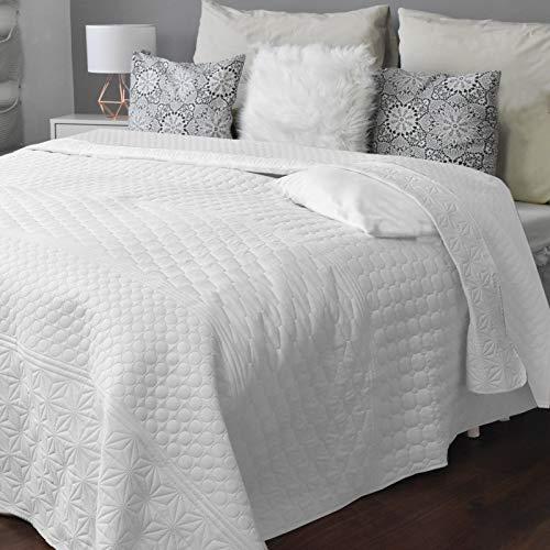 HOMELEVEL Tagesdecke Bett und Sofaüberwurf Bettüberwurf Sofa Tages Decken Betthusse XXL Decke Überwurf (240cm x 260cm, Weiß Gemustert)