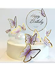 11-Pieces Purple Gold Butterfly Cake Toppers Happy Birthday Metal Gold Happy Birthday Cake Topper Butterfly Birthday Cake Decorations Cake Butterfly Party Decorations