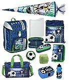 Familando Jungen Schulranzen-Set 10tlg. Scooli FlexMax Schul-Rucksack 1. Klasse mit Sporttasche, Schultüte 85cm groß und Regenschutz