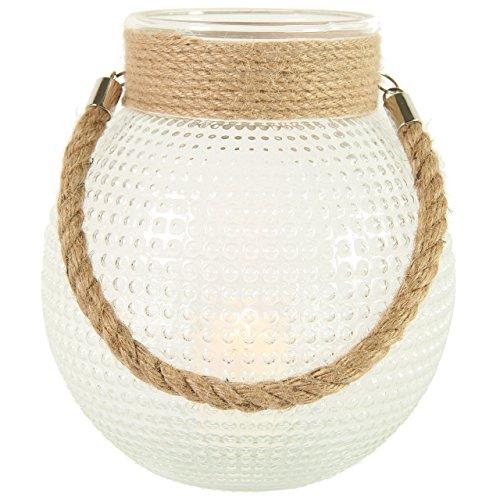 COUNTRYFIELD - Lanterna portacandela in Vetro Ypke L, 22,5 cm, Colore: Beige Trasparente