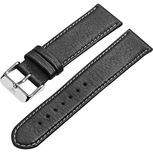 Elysee Uhrenarmband - Feinporiges, glattes Lederarmband mit Dornschließe - 20mm