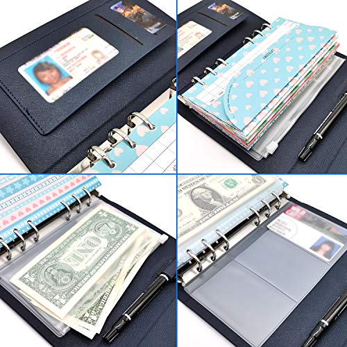 rnairni All-in-One Cash Envelopes Handbag Wallet, Finances Organizer Budget Planner Purse with 12 Budget Envelopes & Budget Sheets(Blue) Photo #3