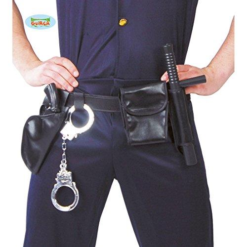 NET TOYS Polizei Gürtel inklusive Accessoires Handschellen, Tasche, Pistole, Schlagstock Polizist Kostüm Zubehör Polizeiausrüstung