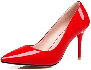 Solid Color Low Top Pointed High Heels For Banquet Wedding Dress Daily (Color : Red, Size : 34)