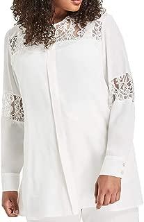 Marina Rinaldi Women's Barocco Lace Detail Blouse, White
