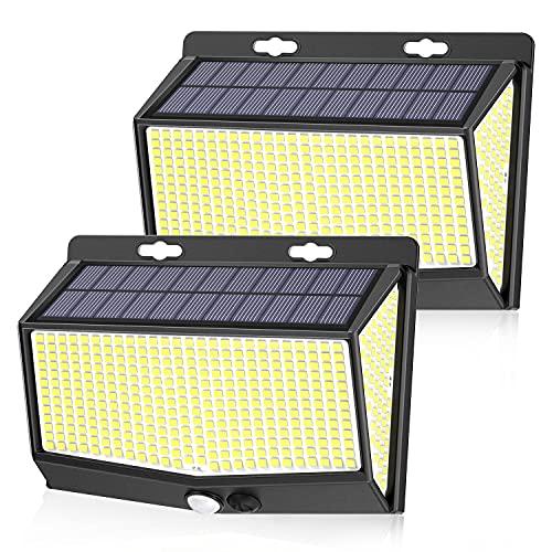 Solarlampen für Außen, [3 Modi/468 LED] SEZAC Solarleuchten für Außen mit Bewegungsmelder, 280° Superhelle Solarleuchte mit IP65 Solarlampe Wasserdicht für Carport Garten Hof (2 Stück)