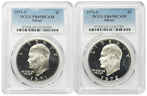 1971 & 1972 S Silver Eisenhower Ike Dollar $1 PR69DCAM PCGS 2 Coin Set