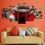 HJIAPO Quadro su Tela 5 Pezzi Tazza di caffè in Grani su Tela in Immagini Moderni Murale Fotografia Grafica Decorazione da Parete Tela Montato su Telaio in Legno di 5 Pezzi 150X80Cm