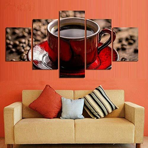 ADKMC Cuadro en Lienzo Grano de la Taza de café 5 Piezas - Impresión en Lienzo - Ancho: 200cm, Altura: 100cm - Listo para Colgar - en un Marco