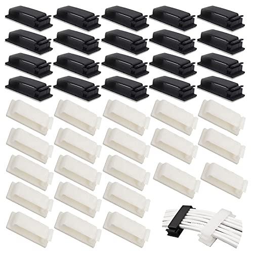 Sujeta Cables Mesa Clips Organizador de Cables Autoadhesivo Ordenador Cable Eléctrico Sistema...