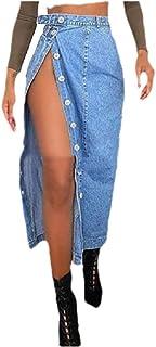 Winwinus Womens Split Casual Leisure Denim Fitted Button Down Maxi Trendy Skirt
