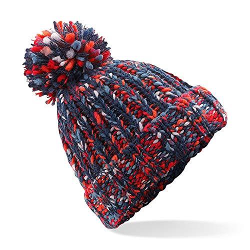 ASVP Shop Bonnet en tricot avec pompon pour homme et femme - Rouge - Taille Unique