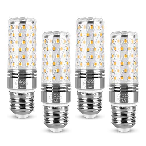 Vicloon Lampadine LED di Mais, 4Pcs Candelabro a LED E27 12W Equivalente a 100W Alogena Bulbi, Luce Lampadine, Bianco Caldo 3000K, 1400LM, Senza Sfarfallio, Non Dimmerabile, CA 175-265V, CRI80+
