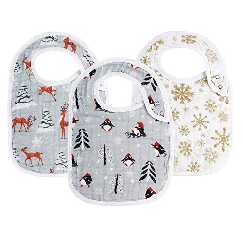 "Snap Muslin Bibs for Boys & Girls, Baby Christmas Bibs for Infants, Newborns and Toddlers,100% Cotton Muslin Absorbent & Soft Layers, Baby Christmas Gift Set,""Snowy """