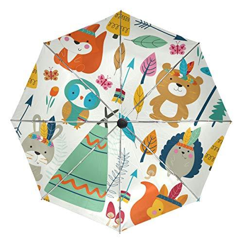 Indian Forest Animals Party Kompakter Reise-Regenschirm, Outdoor, Regen, Sonne, Auto, faltbar, wendbar, winddicht, verstärkter Baldachin, UV-Schutz, ergonomischer Griff, automatisches Öffnen/Schließen