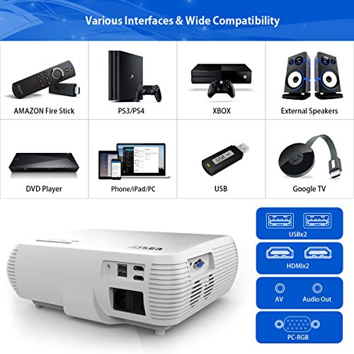 YABER Native 1080P Projector 6200 Lumens Upgrade Full HD Video Projector (1920 x 1080), ±50° 4D Keystone Correction,LCD LED Home & Outdoor Projector Compatible with iPhone,Android,PC,TV Box,PS4