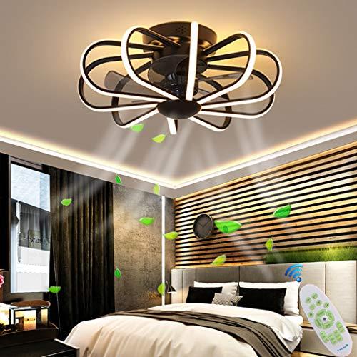 LED Deckenleuchte Deckenventilatoren Mit Beleuchtung 80W Creative Invisible Fan Fernbedienung Dimmbar Ultra-Leise Kann Timing Fan Kronleuchter Modernes Wohnzimmer Schlafzimmer Fan Lampe Φ60,Schwarz