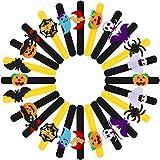 24 Pieces Halloween Slap Bracelets Halloween Themed Wristbands Pumpkin Ghost Patterns Bracelets for Halloween Party Supplies
