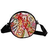 Bennigiry Japanische Geisha Girl Damen Runde Umhängetasche Top Handtasche