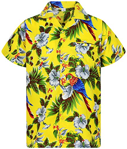 V.H.O. Funky Chemise Hawaienne, Cherry Parrot, Yellow, L