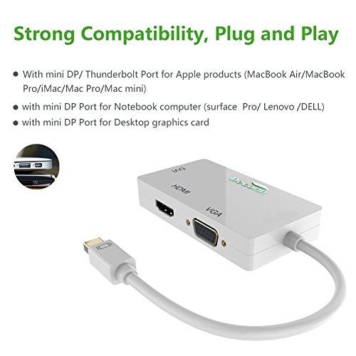 CableDeconn Mini-Displayport auf HDMI DVI VGA Kabel, 3-in-1 Mini DP (Thunderbolt Port kompatibel) zu HDMI DVI VGA TV AV HDTV Adapter Konverter für Apple Mac Book