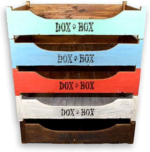 Romenys DoxBox Handgemaakt hondenbed, van gemêleerd mahonie massief hout, met knuffelige, zachte schuimstofmatras om je goed te voelen, verschillende kleuren en maten, Shabby Chic, 120 x 85 cm, Shabby Chic - Blue