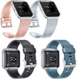 Vancle Replacement Bands Compatible with Fitbit Blaze, 4 Pack (Rose Gold, Silver, Black, Slate, Large)