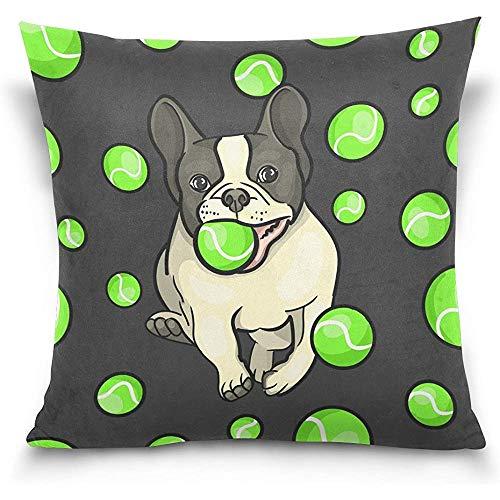 Not applicable Doppelseitige Schöne Tier Hund Bulldog und Tennisball Baumwolle Samt Platz Kissenbezüge 18x18 Zoll Dekorative für Stuhl Auto Sitz
