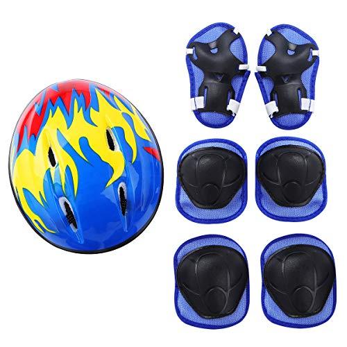 CHICTRY 7 Stück Schonerset Kinder Protektoren Schützer inliner Schutzausrüstung Kinder Knieschoner Set mit Helm für inliner Skateboard Fahrrad Rollschuh Blau One Size
