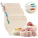 NEWSTYLE Sacs Réutilisables à Fruits et Légumes,Sac de Provisions en Coton Lot de 10 Sacs à Grille,Résistant, Lavable, Double...