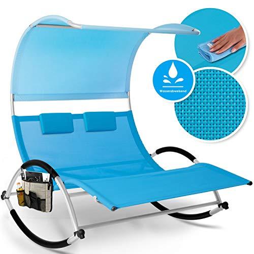 KESSER® Doppel-Sonnenliege Doppelliege   mit Sonnendach, Kopfkissen Tasche   für 2 Personen   Relaxliege   Gartenliege   Schaukelliege ergonomisch geformte Liegefläche   220 kg Belastung   Blau