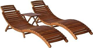 vidaXL Lite drewno akacjowe 3-częściowy leżak do opalania ze stołem do herbaty na zewnątrz salon leżak zestaw ogrodowy stó...