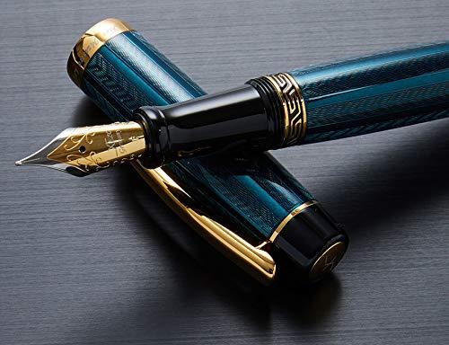 Xezo Maestro LeGrand - Pluma estilográfica de punta fina chapada en oro de 18 quilates, color dioptasa.