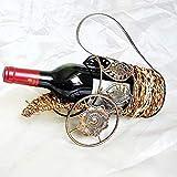 Raxinbang Estante De Vino De Ratán Vinoteca De Vino Decoración De Mesa Estante De Vino Encimera De Ratán Accesorios De Vino Decoración del Hogar Bronce estantería de Vino