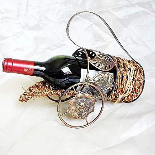 Estanterías de vino dkee Estante De Vino De Ratán Vinoteca De Vino Decoración De Mesa Estante De Vino Encimera De Ratán Accesorios De Vino Decoración Del Hogar Bronce