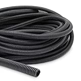 3/8 Inch Split Wire Loom Tubing, Automotive Conduit Protector (Black, 49.3 Feet)