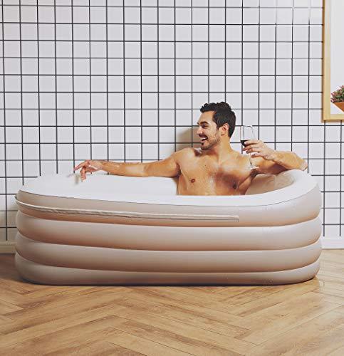 ThermaeStudio® Mobile Badewanne, aufblasbare Badewanne für Erwachsene, tragbar, freistehend, aufblasbar, für Damen und Herren, faltbares Design mit elektrischer Luftpumpe