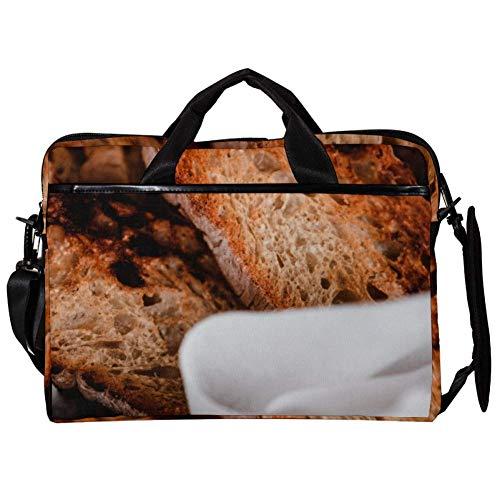 TIZORAX Laptop Messenger Schultertaschen Grilled Toast Bread Computer Sleeve Notebook-Tragetasche 15-15,4 Zoll Handtasche