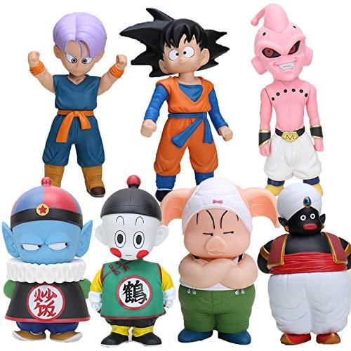 CXNY 11-22cm Dragon Ball z Figuras Oolong Goku Pilaf Trunks buu Chiaotzu Cat Karin Mr. Popo Figura de acción niños PVC Modelo de Juguete 7pcs / set-7pcs / Set